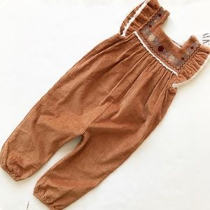 Zara NWT corduroy embroidered jumpsuit 2/3T & 4/5T